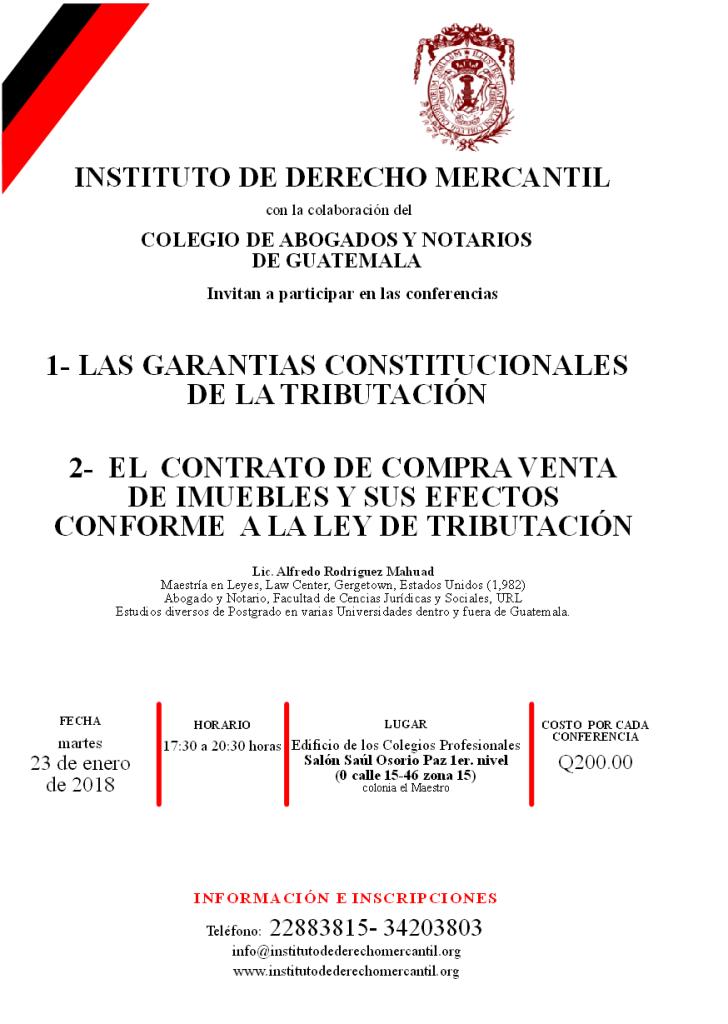 CONFERENCIAS CPADMT MARTES 23 DE ENERO 2018 (LIC. ALFREDO MAHUAD)