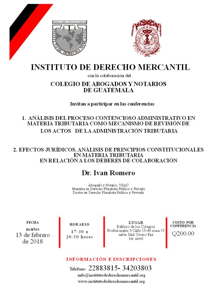CONFERENCIAS MARTES 13 DE FEBRERO 2018 (DR. IVAN ROMERO)