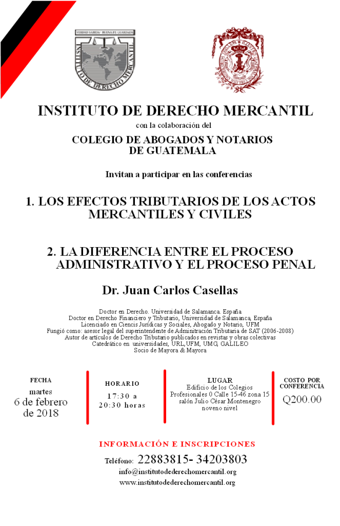CONFERENCIAS MARTES 6 DE FEBRERO 2018 (DR. CASELLAS)